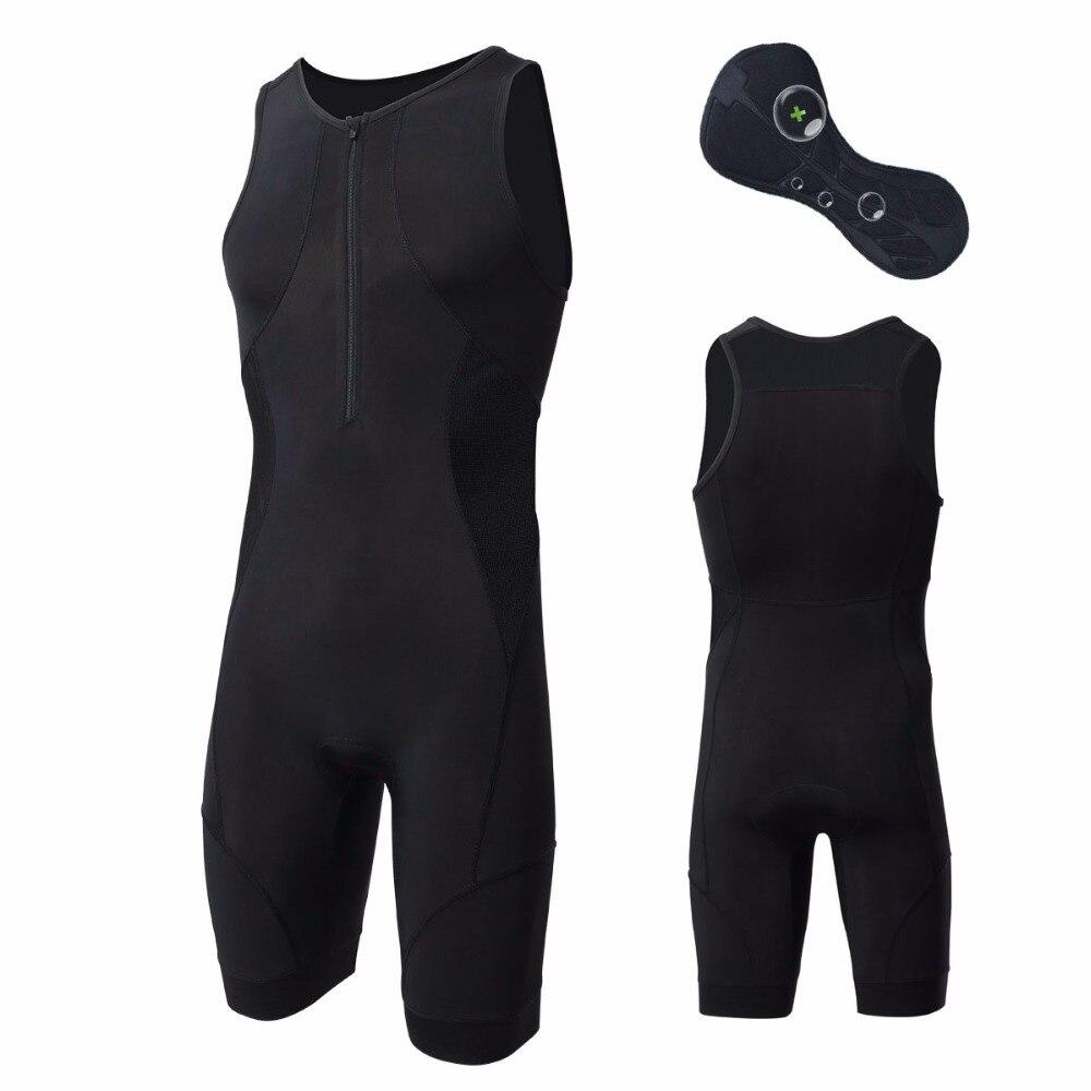 Noir hommes Triathlon vêtements élastique cyclisme Jersey serré costume tampons extérieur équitation vélo course Triathlon sans manches