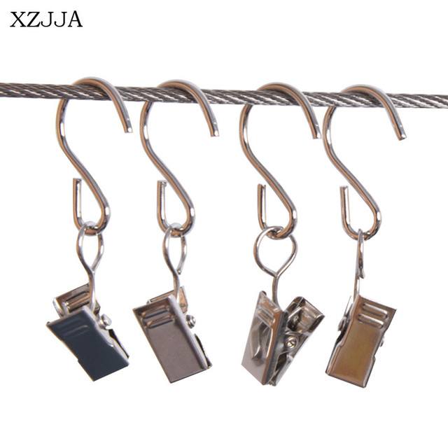 XZJJA 10PCS Metal Curtain Decorative Accessories Rod S Shaped Hook Clips Movable Portiere Shower Track And