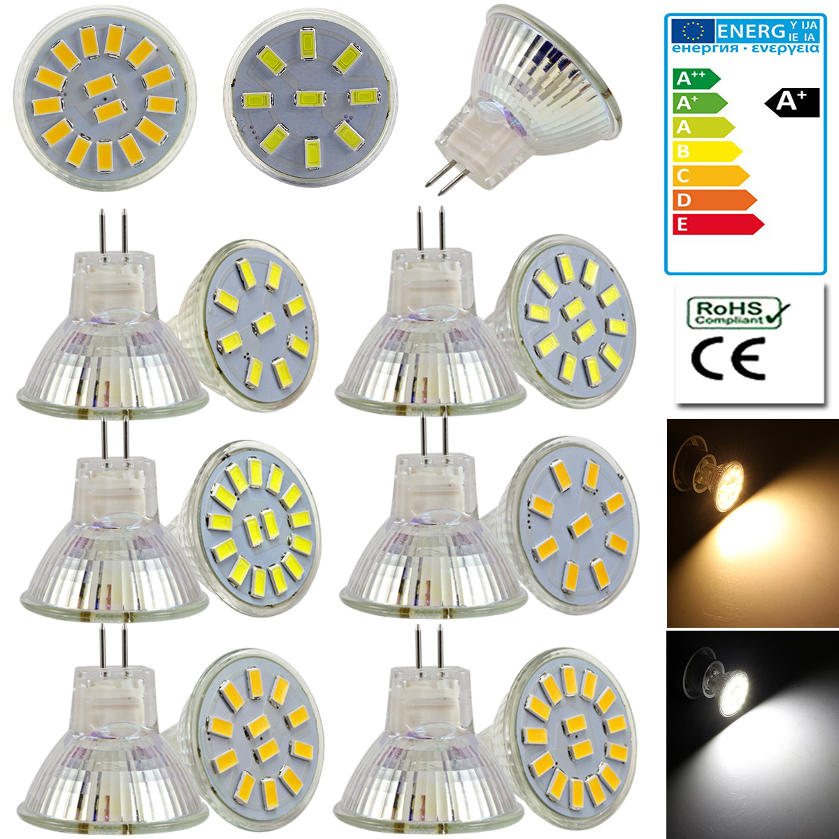 6000K Spotlight 50W Halogen Bulbs Equivalent Renewed Non-dimmable MR16 LED Light Bulbs 120 Degree Beam Angle 500lm 6-Pack DiCUNO GU10 LED Bulbs 5W Pure White