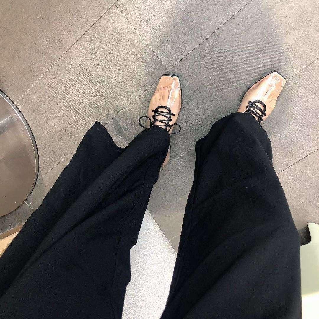 À Transparent Carré Lacets Yifsion A2 Blanc Chaussures Bout Femelle Décontractée Noir Plates Femmes Chaude SwpCf