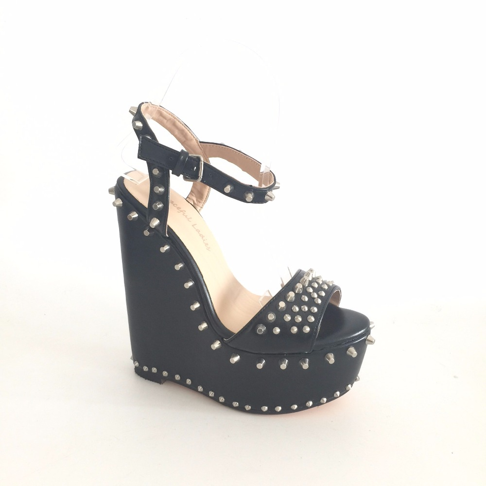Black Solid Open Toe Ladies Wedge Sandals Summer 2015 Ankle Buckle Strap Rivets High Heels High Platform Woman Shoes Handmade стоимость