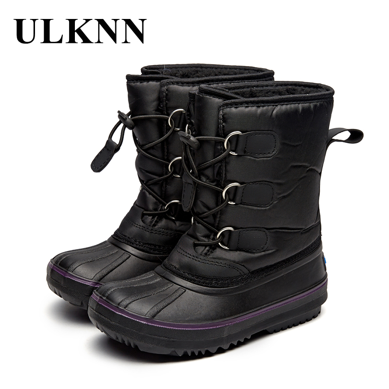купить ULKNN Children's Waterproof Snow Boots For Boys Kids Warm Shoes For Boys Girls Winter Boots Casual Leather Plush Flat Platform по цене 1283.79 рублей