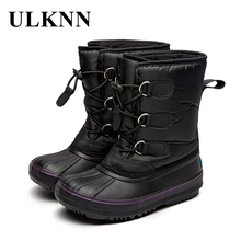 ULKNN Childrens Waterproof Snow Boots For Boys  Kids Warm Shoes Girls Winter Casual Leather Plush Flat Platform