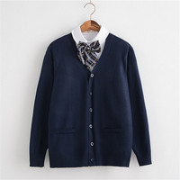Autumn Winter Long Sleeve Student Uniforms S-XXXL 3Colors High Quality Cardigan School Uniform Sweaters OY-MY009