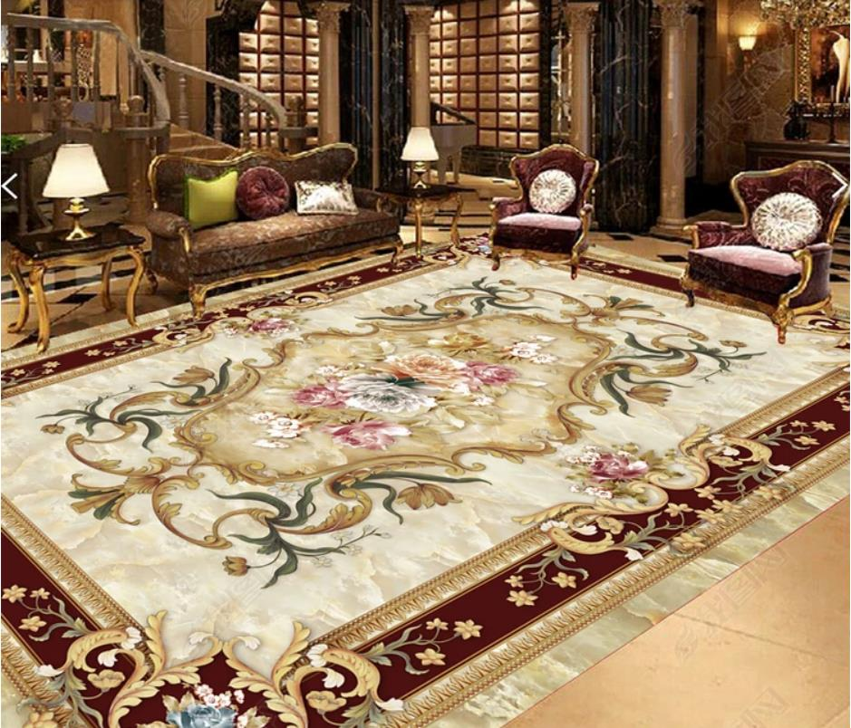 European style HD 3d Flooring Wallpapers For Living room ...
