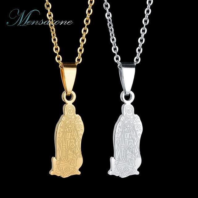 d157740e57cd MENSAZONE Popular Virgen María Shell oro Color acero inoxidable collar y  colgantes encanto mujeres joyas de