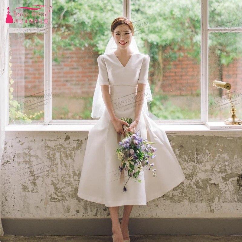 Country Korea Style A Line V Neck Wedding Dresses Short Sleeves Open Back Tea Length Bridal Gown Cheap Vestidos De Noiva DQG357