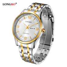 LONGBO Luxury Lovers Couple Watches Men Date Day Waterproof Women Gold Stainless Steel Quartz Wristwatch Montre Homme 80145