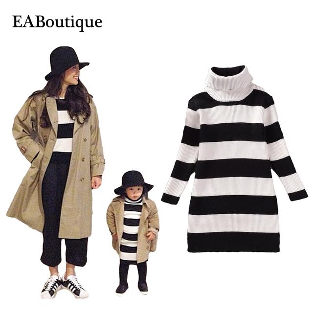 Eaboutique invierno manga completa coincidencia de corea rayó impreso suéteres de madre e hija madre e hija ropa