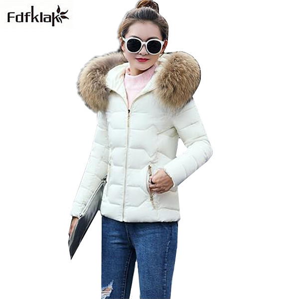 Women's short autumn winter coat slim cotton-padded jacket women with fur collar hooded parka female outerwear coats and jackets 2016 new fashion autumn winter women basic jacket coat female slim hooded brand cotton coats