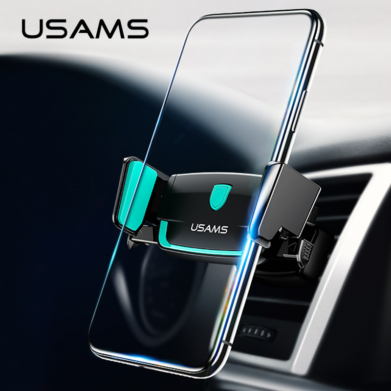Car Phone holder, USAMS universal car holder stand 360 degree rotation Air vent mount elastic holder for iPhone 7 Xiaomi Samsung ...