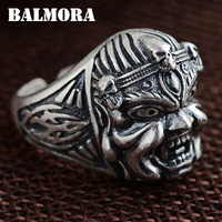 BALMORA 990 Pure Silver Ghost King Rings for Men Vintage Thai Silver Open Ring Horrible Jewelry Anillos High Quality SY21345