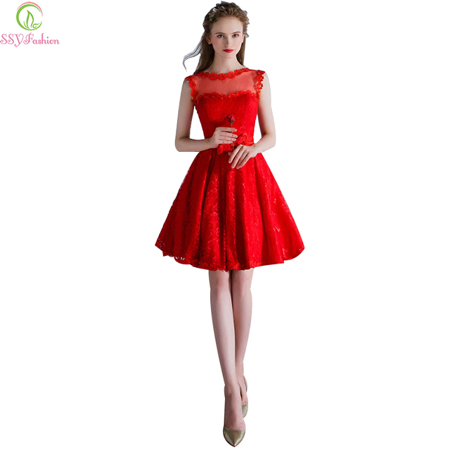 SSYFashion 2017 New The Bride Banquet Elegant Red Lace Cocktail Dress Short  Sleeveless Sweet Girl Party Gown Custom Formal Dress a7d61abd37f5