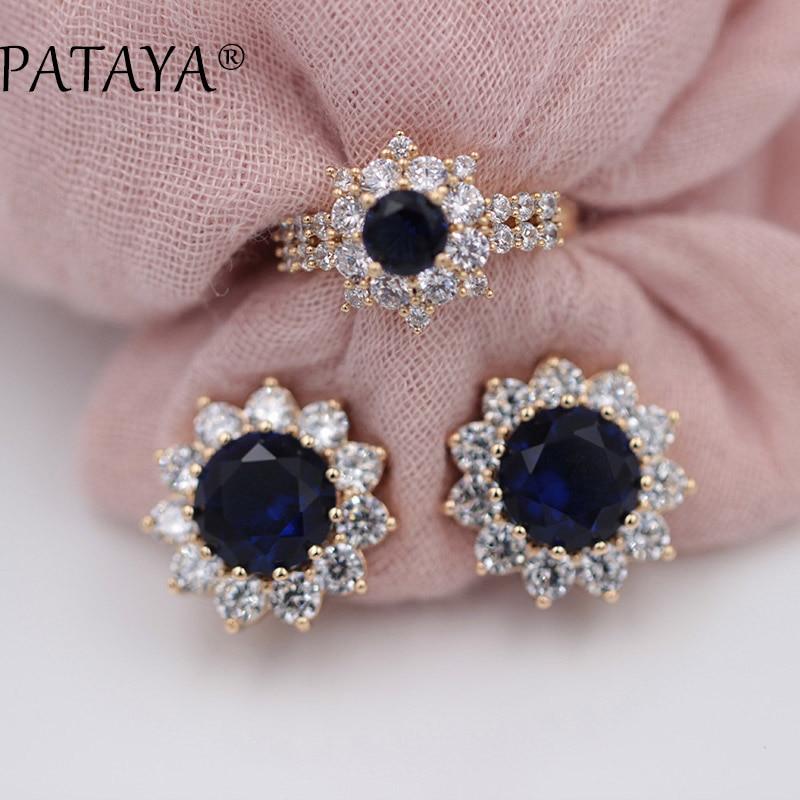 ec6390670 PATAYA Original Design Dark Blue Sunflower Round Natural Zircon Earrings  Rings Sets 585 Rose Gold Women