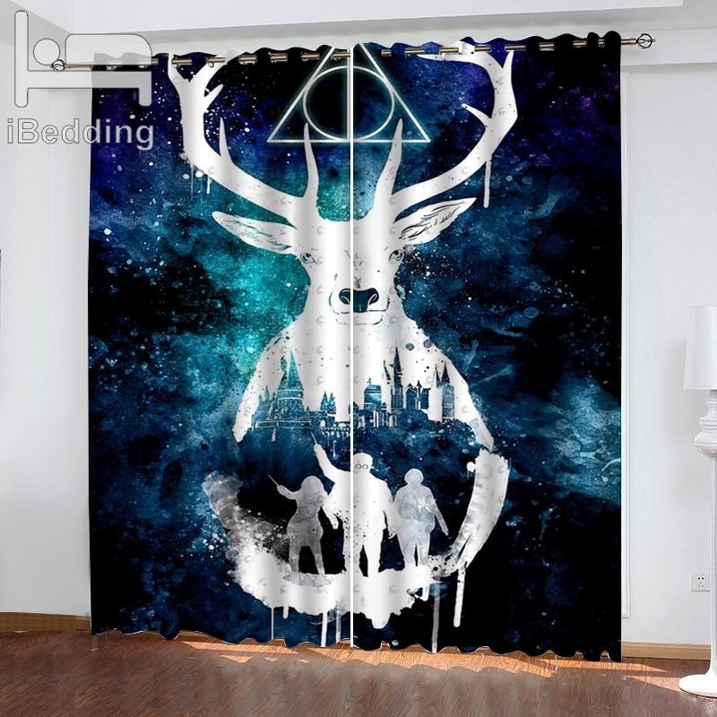 1 Set IBedding Cartoon Living Room Curtain Waterproof Curtain POD Customized Photo Polyester Decor