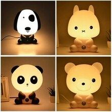 Cute Panda/Rabbit/Dog/Bear LED Night Lights Cartoon Animal 3D Light EU Nursery Sleeping Baby Bedroom Bulb Lamp