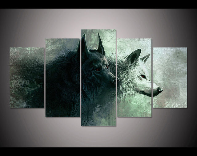Hd Print 5 Pieces Canvas Wall Art Wolf Painting Modern Home Decor