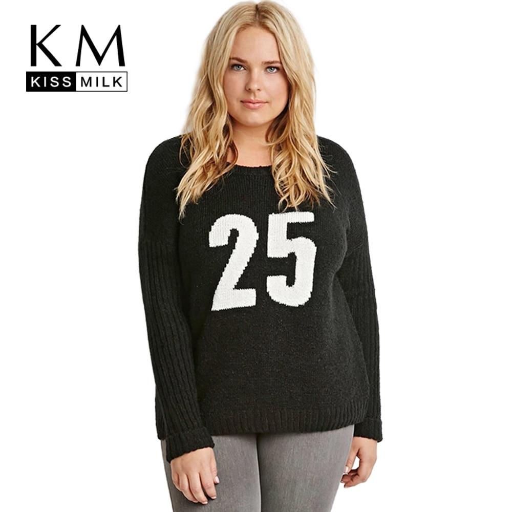 Kissmilk Plus Size Fashion Women Clothing Basic Preppy Style Sweater Pullovers Long Sleeve Casual Big Size Sweater 4XL 5XL 6XL in Pullovers from Women 39 s Clothing