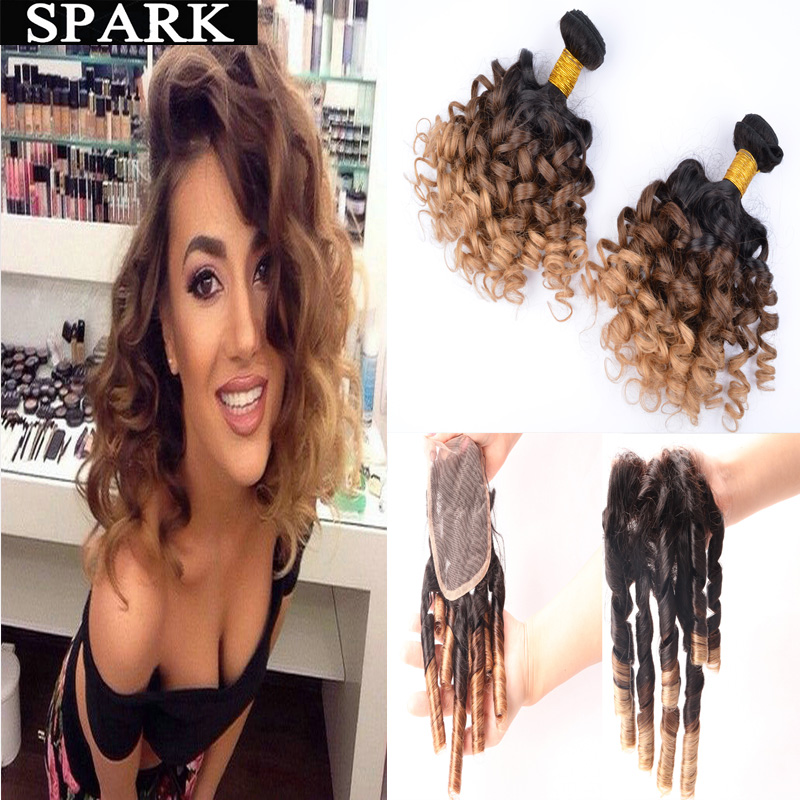 7A Ombre Brazilian Virgin Hair Spiral Curly with Closure 2/3/4 Bundles with Lace Frontal Closure Kinky Curly Human Hair Weave