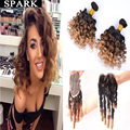 Ombre Brazilian Virgin Hair Spiral Curly with Closure 2/3/4 Bundles with Lace Frontal Closure Kinky Curly Weave Human Hair Wigs
