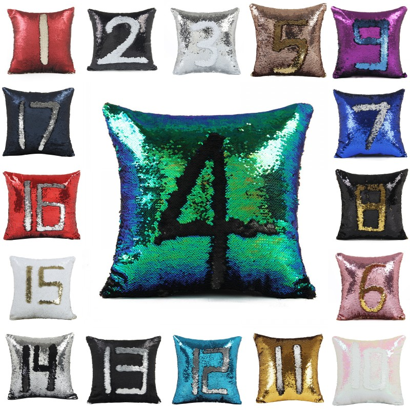 sequin mermaid cushion cover pillow magical color changing glitter throw pillow case home decorative car sofa pillowcase 4040cm - Color Changing Pillow