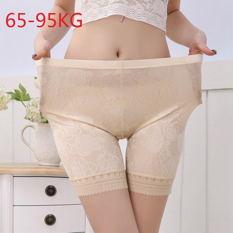New Ice Silk Lace Flowers Pattern Middle Waist Short   Leggings   for Women Plus XL   Leggings   Pants Trousers Under Shirt Fit 65-95kg