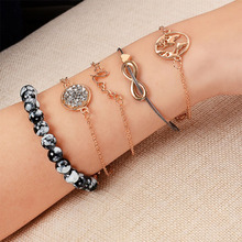 5pcs/lot Love Letter English World Map Turtles Bowknot Beaded Beads Bracelet for Women Gold 2019 Jewelry Gift WD80
