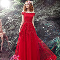 Banquet Party Dress 2016 New Summer New Bride Toast Back Long Slim Red Dress Female A-line Appliques Floor-length Slash Neck