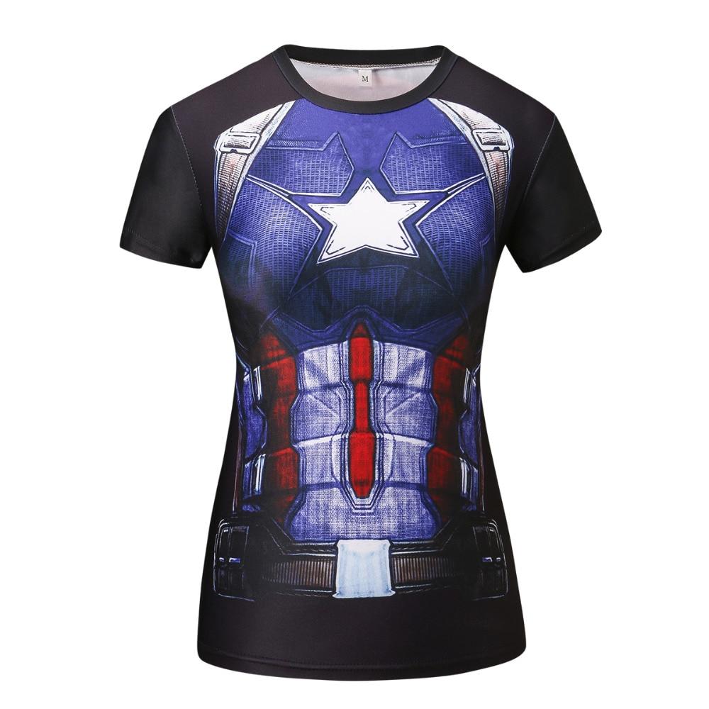 Camiseta de compresión Superhéroe Batman / Capitán América / t - Ropa de mujer