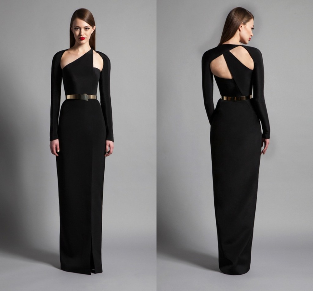 cheap Black Modest Spandex Evening Gowns With Long Sleeves Straight ...