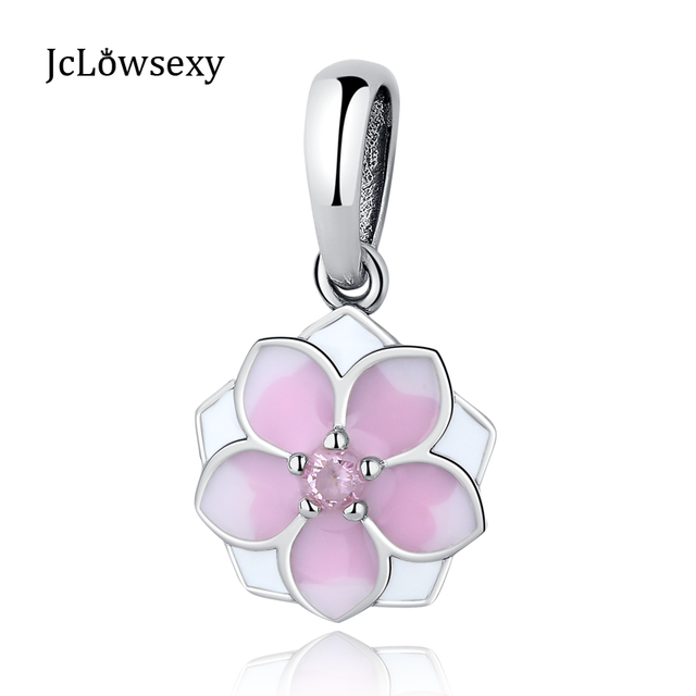 3d501b3d0 925 Sterling Silver Beads Pink Enamel Lotus Flower Magnolia Bloom Hanging  Crystal Pendant Charm Fit Pandora