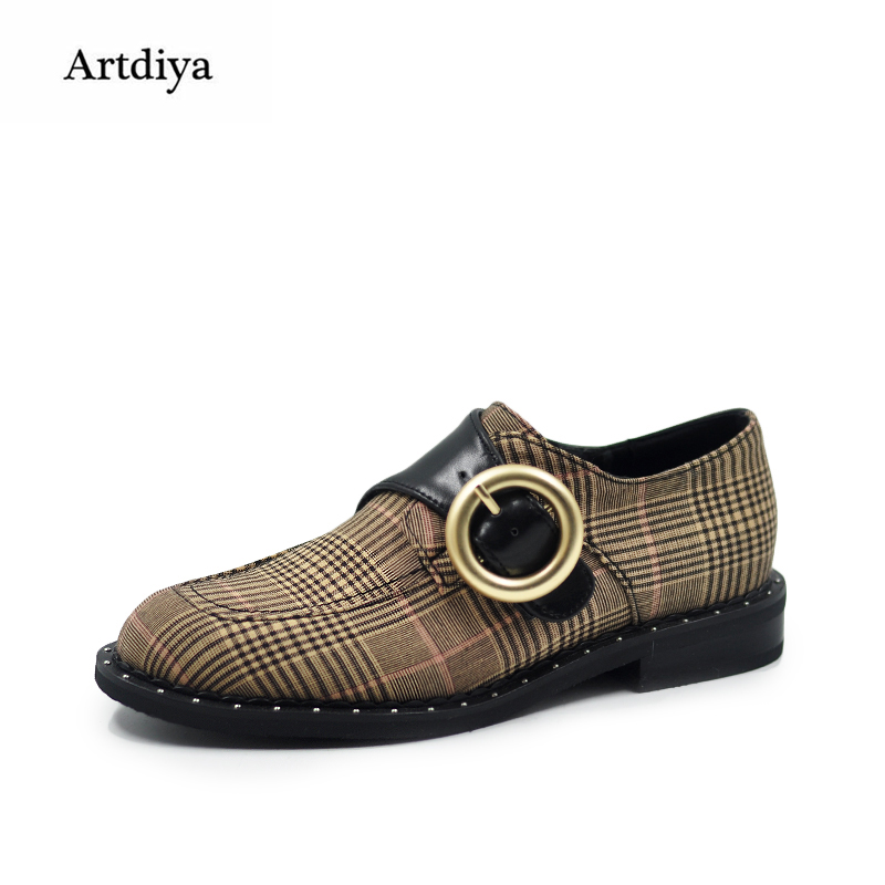 Artdiya Original 2018 New British Style Women Shoes Plaid Leisure Shoes Spring and Autumn Four Seasons Shoes 18-49 four seasons russian autumn 2 cd