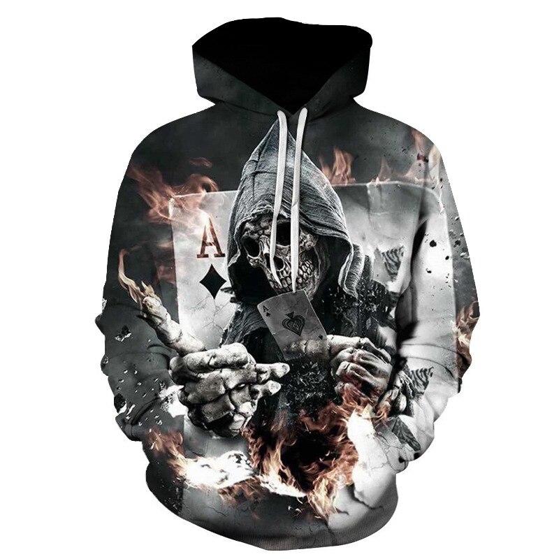 Hot selling loose hooded men's hoodie - hoodie poker print hoodie.