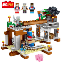 493PCS MY WORLD City Building Block Bricks Compatible Legoe Figures With Weapon Minecrafted Educational Toys For