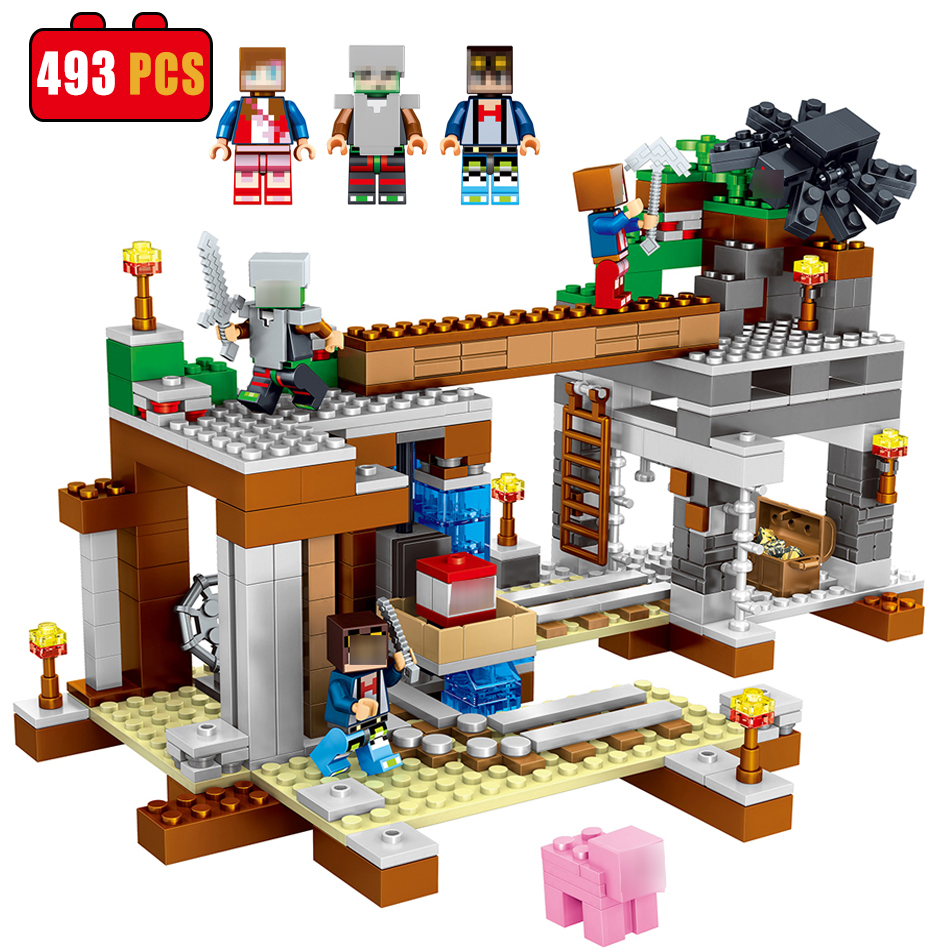 493pcs Reston Fortress MY WORLD Compatible Legoed Minecrafted Figures Building Blocks Bricks Set Educational Toys for Children lele my world power morse train building blocks kits classic educational children toys compatible legoinglys minecrafter 541 pcs