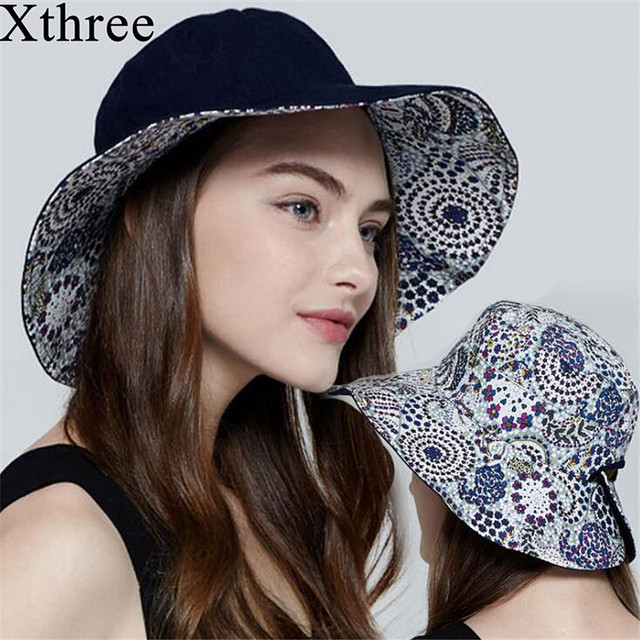 Xthree reversible women summer hat cotton and linen sun hat Beach cap for  girl the panama 838e8ba41a7
