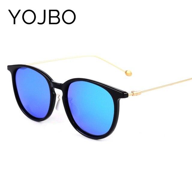 YOJBO Polarisées lunettes de Soleil Femmes Marque 2018 Rondes En  Polycarbonate Miroir Noir Femelle lunettes de 6a640c72c3e4