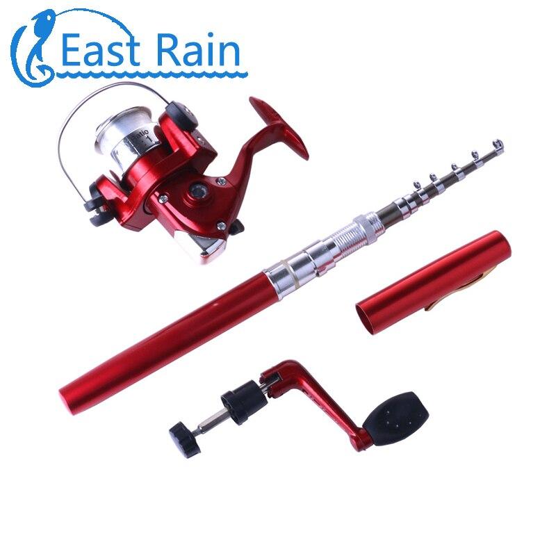 leste ratio chuva 5 1 1 bolso telescopica mini vara de pesca forma caneta dobrado varas