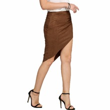 Elegant Sexy Summer Vintage Pleat Suede Bandage Bodycon Wrap Women Skirts Female Retro Irregular Hem High