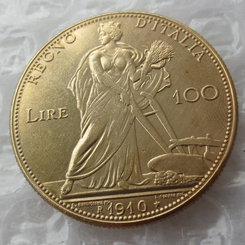 Italy 100 Lire 1910 Vittorio Emanyele III Gold Copy Coins brass ornament High Quality