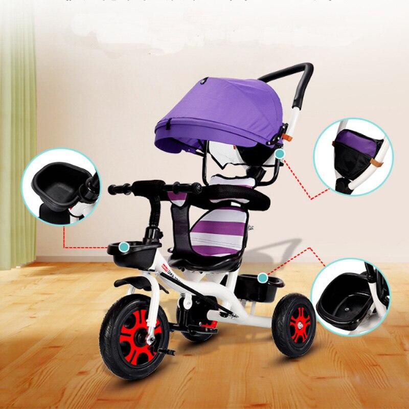 Bébé enfants inverser bambin Tricycle vélo Trikes Ride-On jouets poussette landaus sièges de voiture dormir avec 360 degrés chaise rotative
