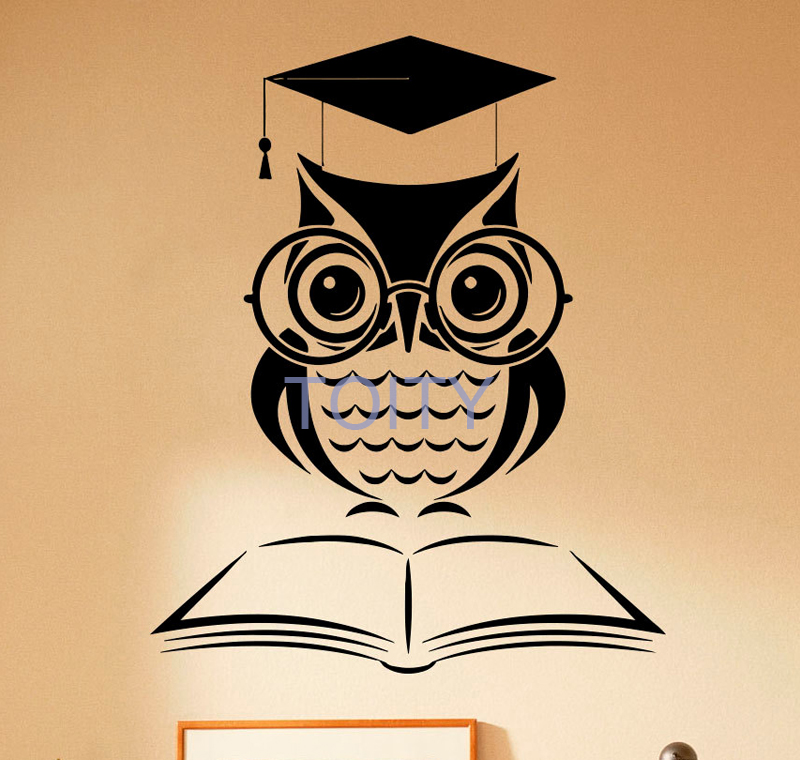 Owl Book Vinyl Decal Reading Room Library Wall Sticker Home Bedroom Kids Room Wall Art Mural H70cm x W57cm/27.7 x 22.5