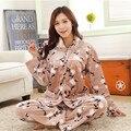 Mujeres de Coral de Invierno Salón Camisón ropa de Dormir Grueso de Cachemir Cálido Pijamas Set Homewear Algodón Adultos Ropa de Dormir de Franela Más tamaño
