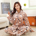 Mulheres Inverno Cashmere Coral Nightie Sleepwear Grosso Quente Pijamas Set Homewear Algodão Salão Adulto Pijamas de Flanela Plus Size