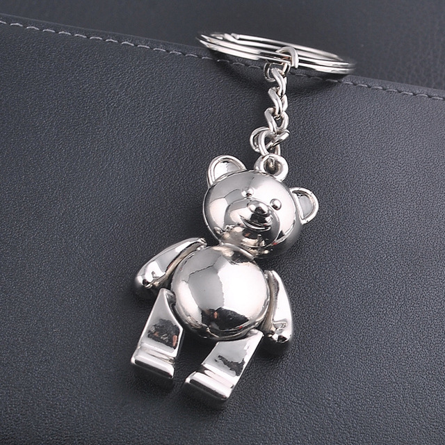 metal bear keychains lovely zinc alloy animal teddy key chain for girl key rings