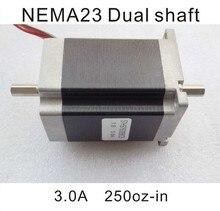 цена на 8 mm double shaft nem 23 stepping motor 180 n. Cm (250 oz - in) body length 76 mm CE ROHS cpu double shaft nem 23 stepper motor