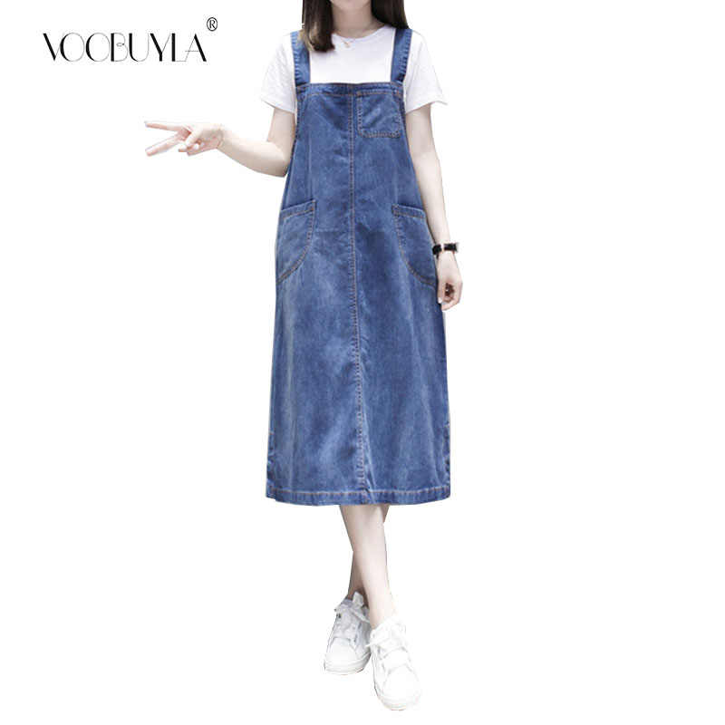Voobuyla женское джинсовое платье Сарафан повседневное свободное платье Женский Регулируемый ремень джинсовое платье включает футболку плюс размер 5XL