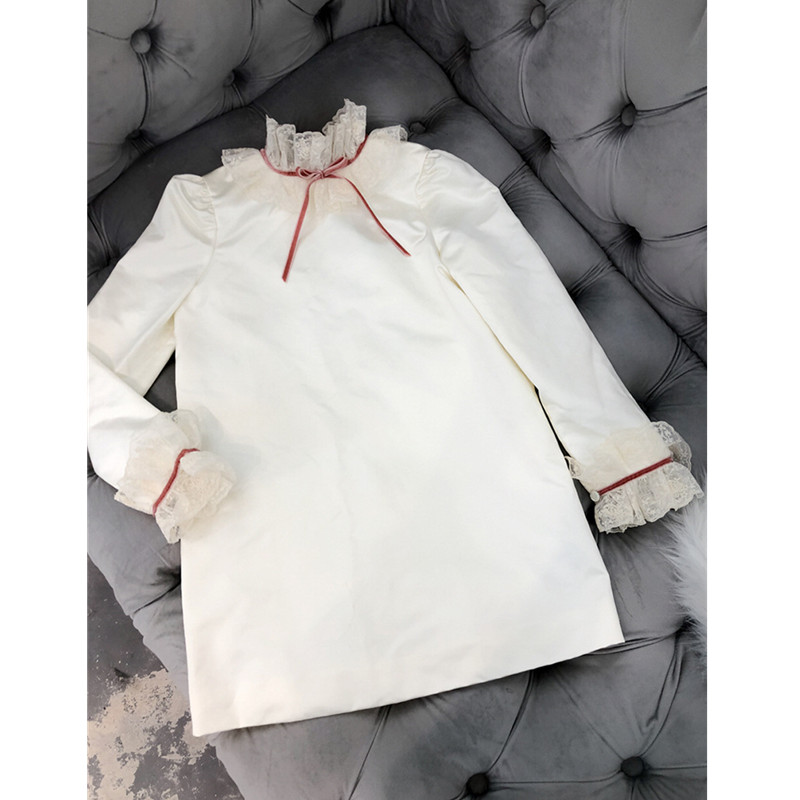 Girls dress lace collar long sleeve dresses boutique autumn winter baby girl dress princess kids costume kids dress autumn girls princess dresses korean teenage baby girls dress cotton long sleeve bow children costume 6 8 10 12 years