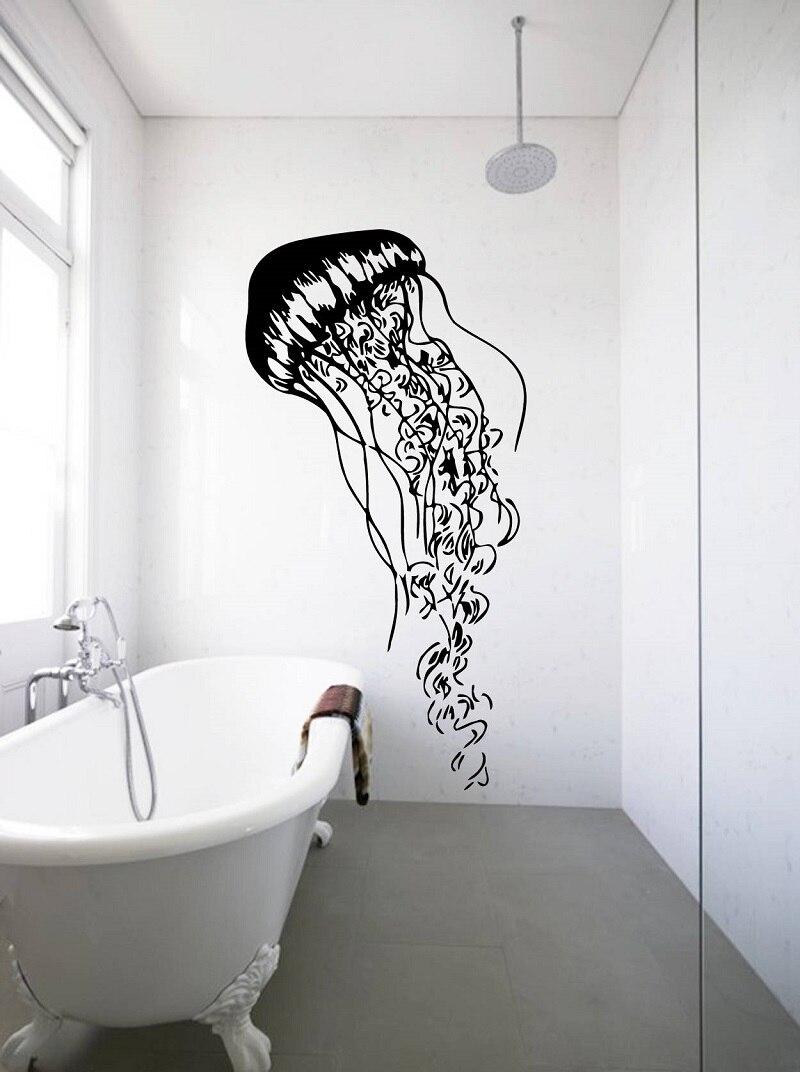 Mariene leven kwallen vinyl muurtattoo kinderkamer woonkamer badkamer nautische woondecoratie art behang muurschildering YS18-in Wall Stickers from Home & Garden