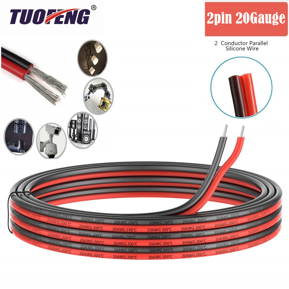 2pin Extension Cable Wire Cord 20awg Silicone Electrical Wire Cables 2 Conductor Parallel Wire line Soft